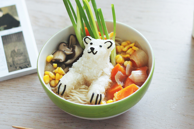 Vegan Ramen With a Global Warming Polar Bear